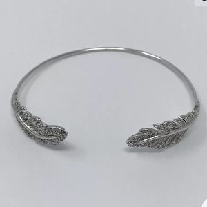 New FP Tai Silver Feather Pinch Pave Cuff Bracelet